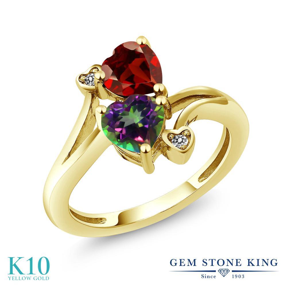 Gem Stone King 1.88カラット 天然石 ミスティックトパーズ (グリーン) 天然 ガーネット 天然 ダイヤモンド 10金 イエローゴールド(K10) 指輪 リング レディース ダブルストーン 天然石 金属アレルギー対応 誕生日プレゼント