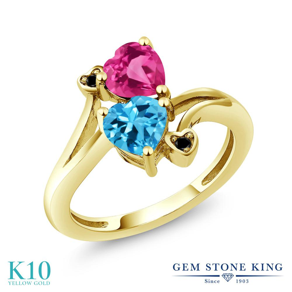 Gem Stone King 1.78カラット 天然 スイスブルートパーズ 合成ピンクサファイア 天然ブラックダイヤモンド 10金 イエローゴールド(K10) 指輪 リング レディース ダブルストーン 天然石 11月 誕生石 金属アレルギー対応 誕生日プレゼント