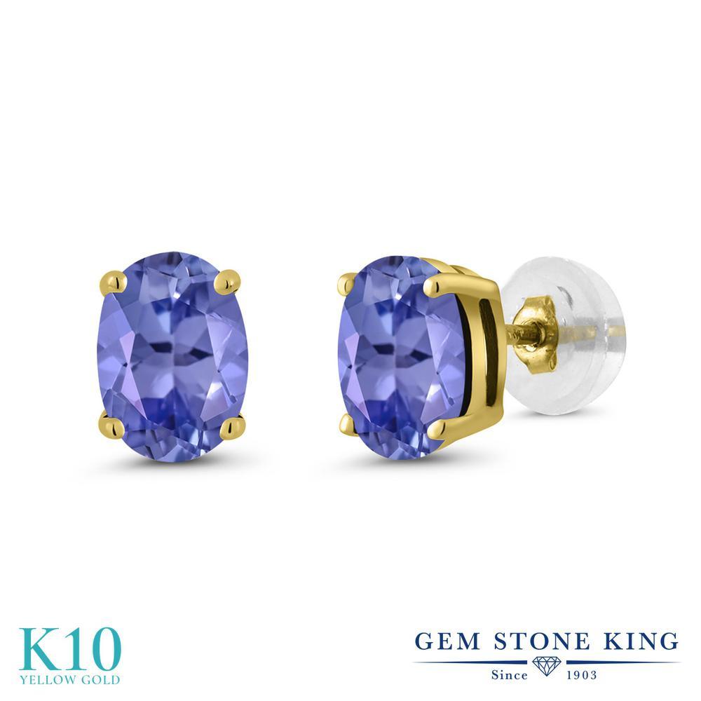 Gem Stone King 1.5カラット 天然石 タンザナイト 10金 イエローゴールド(K10) ピアス レディース シンプル スタッド 天然石 12月 誕生石 金属アレルギー対応 誕生日プレゼント