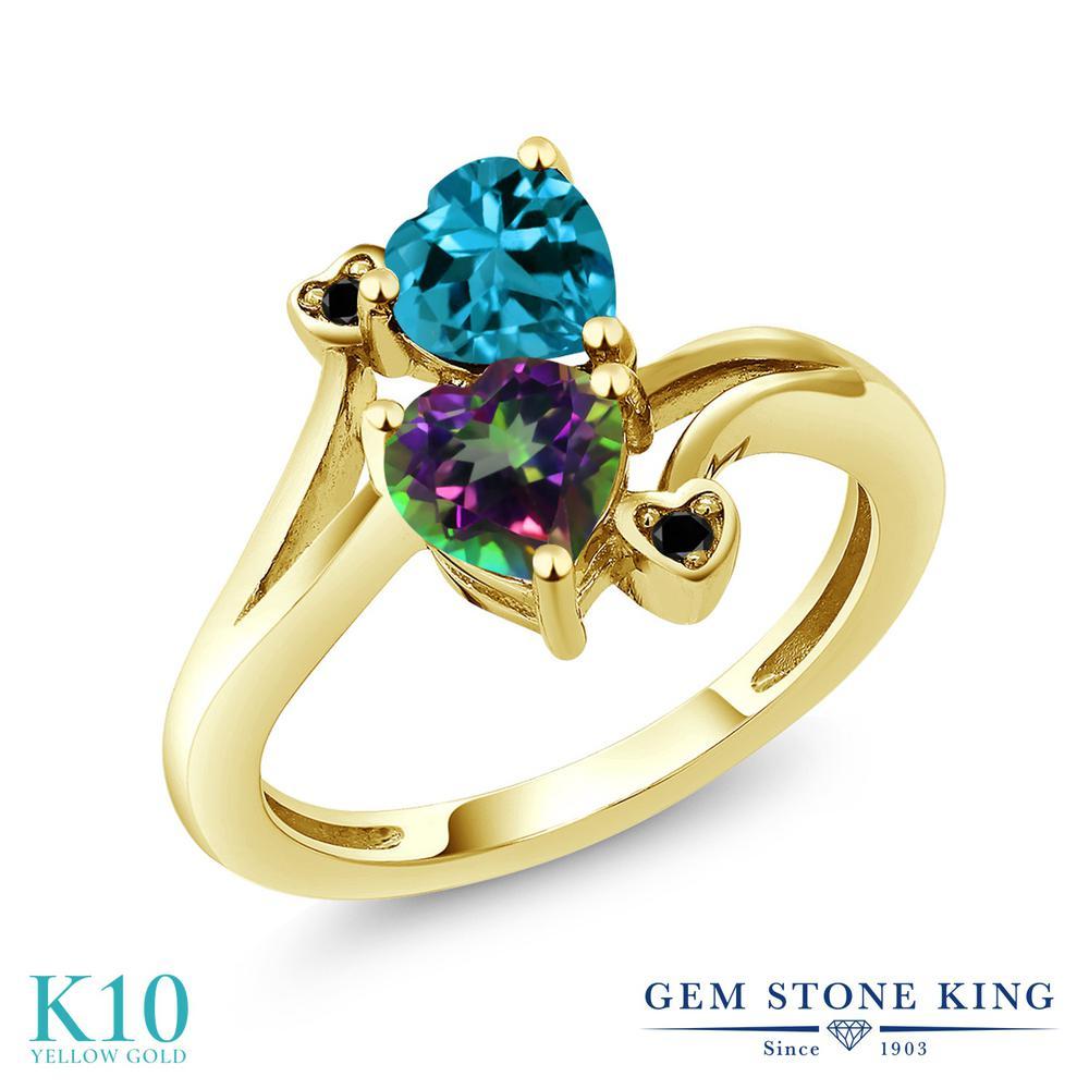 Gem Stone King 1.93カラット 天然石 ミスティックトパーズ (グリーン) 天然 ロンドンブルートパーズ 天然ブラックダイヤモンド 10金 イエローゴールド(K10) 指輪 リング レディース ダブルストーン 天然石 金属アレルギー対応 誕生日プレゼント