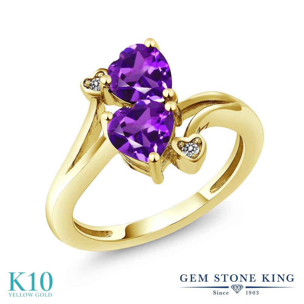 【10%OFF】 Gem Stone King 1.33カラット 天然 アメジスト ダイヤモンド 指輪 リング レディース 10金 イエローゴールド K10 アメシスト ダブルストーン 天然石 2月 誕生石 クリスマスプレゼント 女性 彼女 妻 誕生日