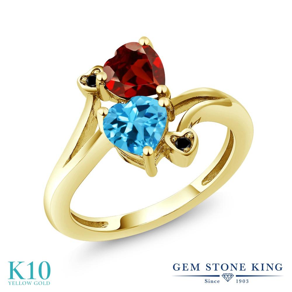 【10%OFF】 Gem Stone King 1.88カラット 天然 スイスブルートパーズ ガーネット ブラックダイヤモンド 指輪 リング レディース 10金 イエローゴールド K10 ダブルストーン 天然石 11月 誕生石 クリスマスプレゼント 女性 彼女 妻 誕生日