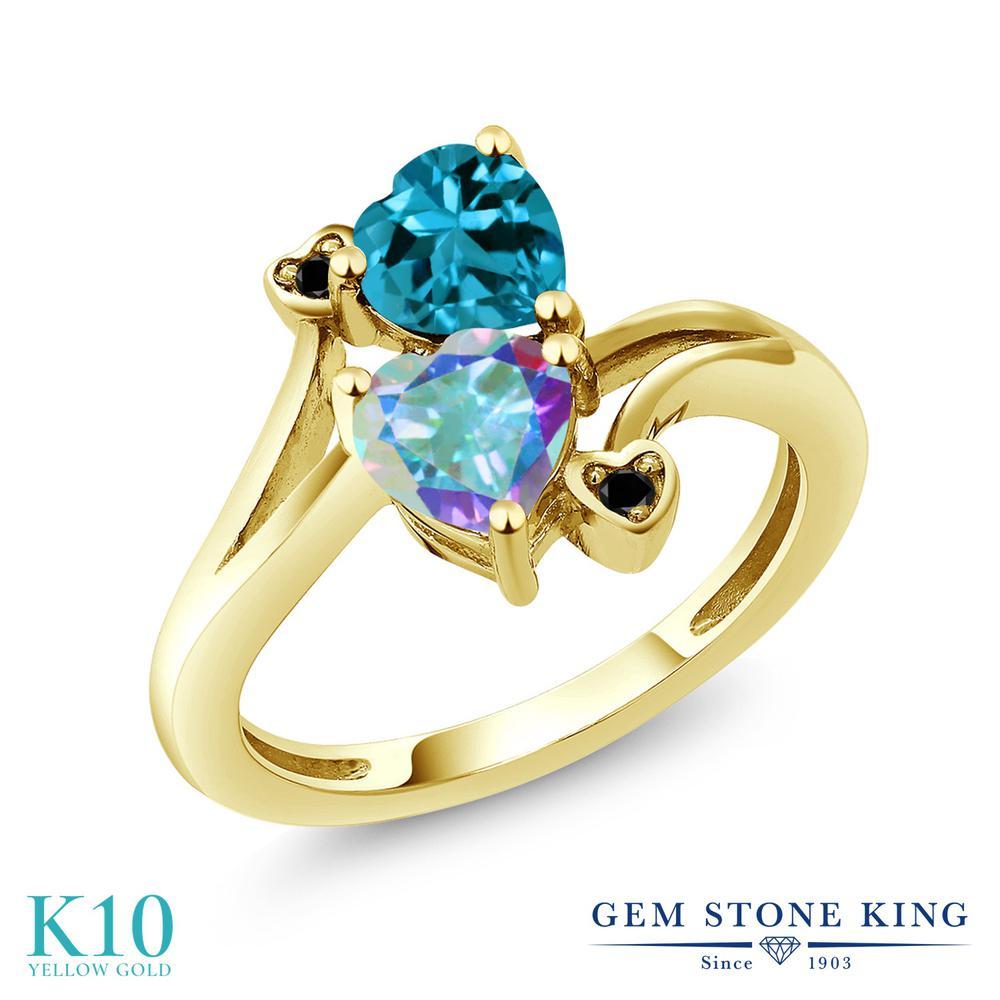 【10%OFF】 Gem Stone King 1.93カラット 天然石 ミスティックトパーズ (マーキュリーミスト) 天然 ロンドンブルートパーズ ブラックダイヤモンド 指輪 リング レディース 10金 イエローゴールド K10 ダブルストーン クリスマスプレゼント 女性 彼女 妻 誕生日