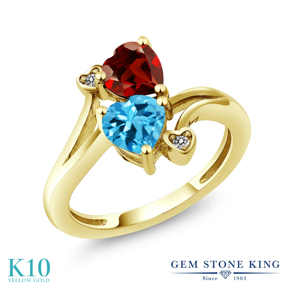 【10%OFF】 Gem Stone King 1.88カラット 天然 スイスブルートパーズ ガーネット ダイヤモンド 指輪 リング レディース 10金 イエローゴールド K10 ダブルストーン 天然石 11月 誕生石 クリスマスプレゼント 女性 彼女 妻 誕生日
