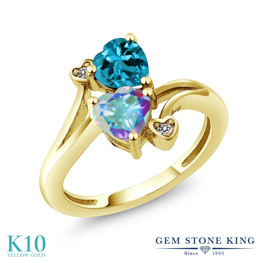【10%OFF】 Gem Stone King 1.93カラット 天然石 ミスティックトパーズ (マーキュリーミスト) 天然 ロンドンブルートパーズ ダイヤモンド 指輪 リング レディース 10金 イエローゴールド K10 ダブルストーン クリスマスプレゼント 女性 彼女 妻 誕生日