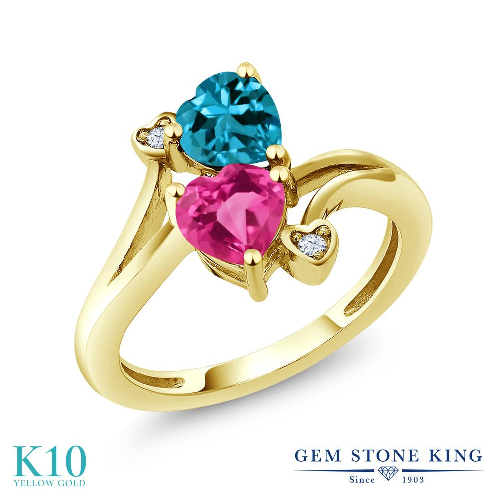 【10%OFF】 Gem Stone King 1.93カラット 天然 ミスティックトパーズ (ピンク) ロンドンブルートパーズ 指輪 リング レディース 10金 イエローゴールド K10 ダブルストーン 天然石 クリスマスプレゼント 女性 彼女 妻 誕生日