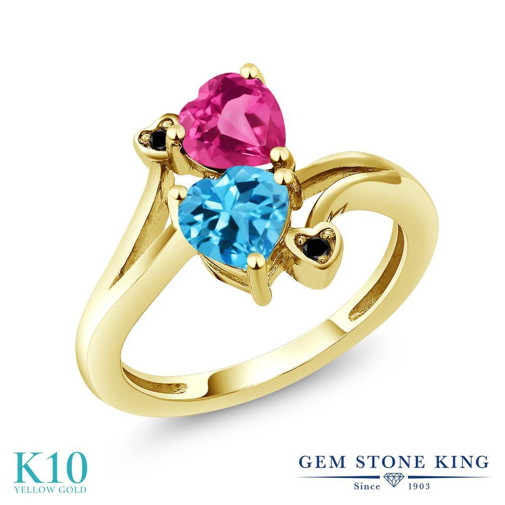 Gem Stone King 1.93カラット 天然 スイスブルートパーズ 天然 ミスティックトパーズ (ピンク) 天然ブラックダイヤモンド 10金 イエローゴールド(K10) 指輪 リング レディース ダブルストーン 天然石 11月 誕生石 金属アレルギー対応 誕生日プレゼント