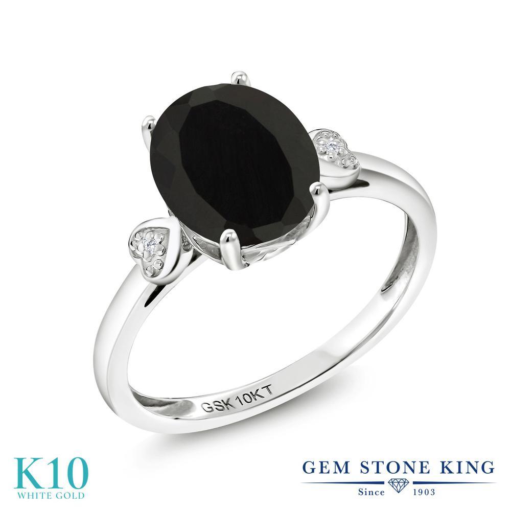 Gem Stone King 2.51カラット 天然 オニキス 天然 ダイヤモンド 10金 ホワイトゴールド(K10) 指輪 リング レディース 大粒 シンプル ソリティア 天然石 8月 誕生石 金属アレルギー対応 誕生日プレゼント