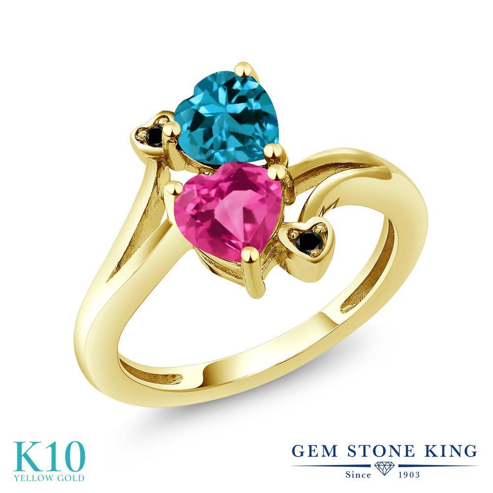 Gem Stone King 1.93カラット 天然 ミスティックトパーズ (ピンク) 天然 ロンドンブルートパーズ 天然ブラックダイヤモンド 10金 イエローゴールド(K10) 指輪 リング レディース ダブルストーン 天然石 金属アレルギー対応 誕生日プレゼント