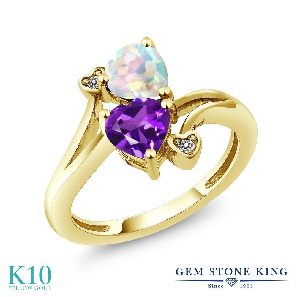 【10%OFF】 Gem Stone King 1.43カラット 天然 アメジスト シミュレイテッド ホワイトオパール ダイヤモンド 指輪 リング レディース 10金 イエローゴールド K10 アメシスト ダブルストーン 天然石 2月 誕生石 クリスマスプレゼント 女性 彼女 妻 誕生日