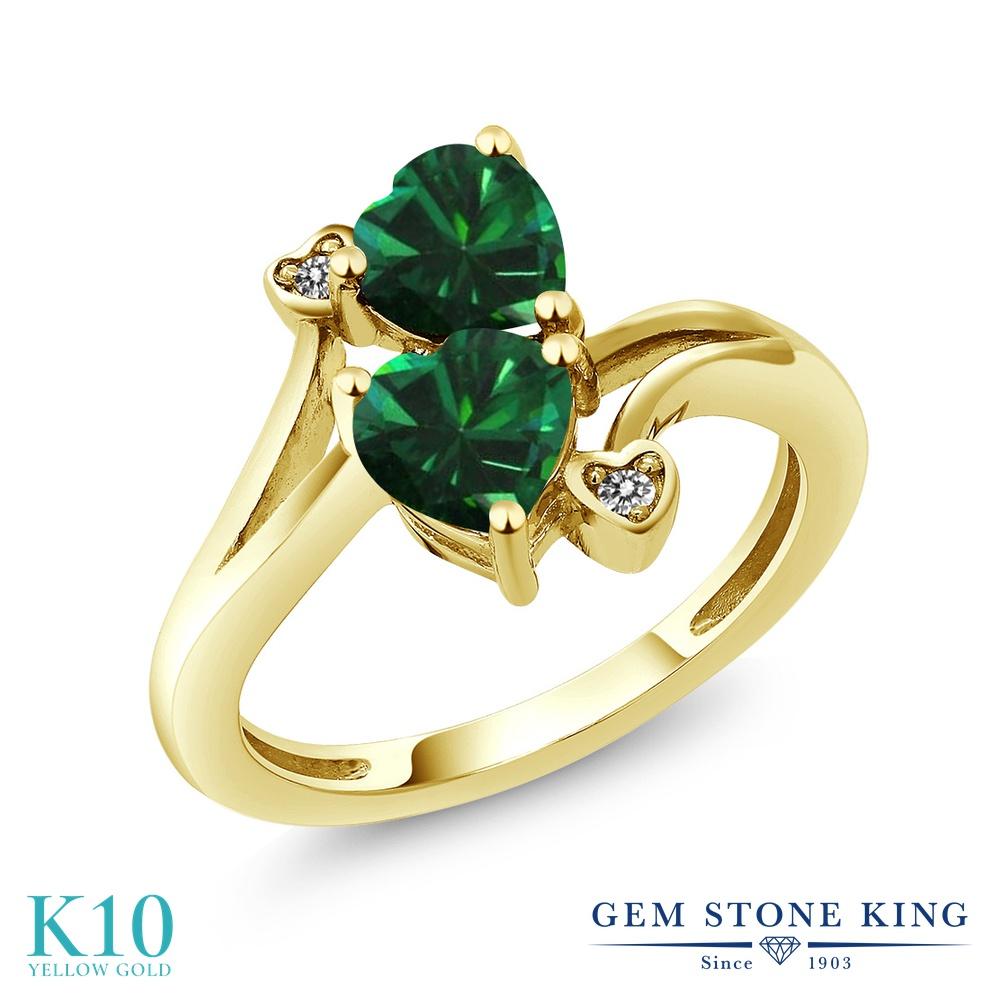 【10%OFF】 Gem Stone King 1.39カラット ナノエメラルド 天然 ダイヤモンド 指輪 リング レディース 10金 イエローゴールド K10 ダブルストーン クリスマスプレゼント 女性 彼女 妻 誕生日