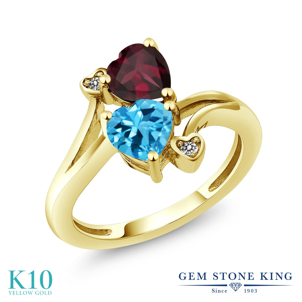 Gem Stone King 1.7カラット 天然 スイスブルートパーズ 天然 ロードライトガーネット 天然 ダイヤモンド 10金 イエローゴールド(K10) 指輪 リング レディース ダブルストーン 天然石 11月 誕生石 金属アレルギー対応 誕生日プレゼント