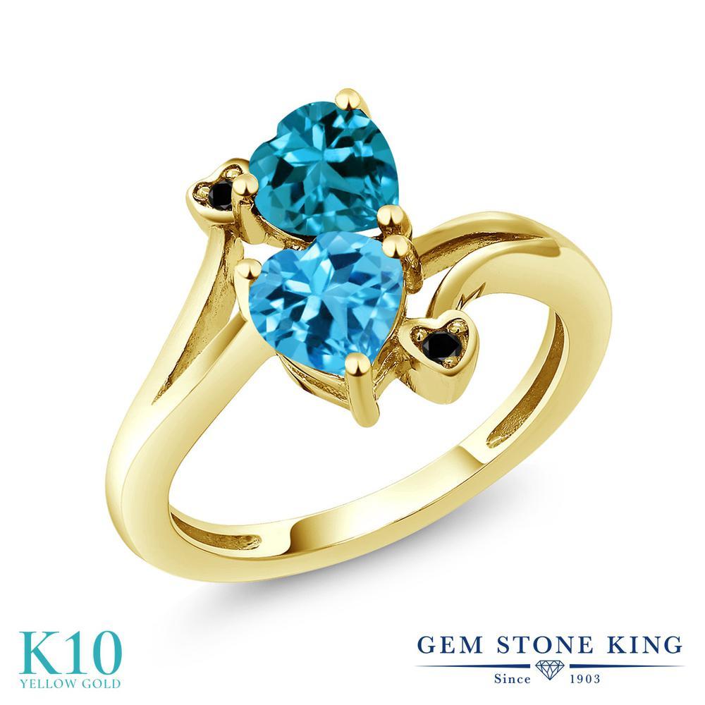 Gem Stone King 1.93カラット 天然 スイスブルートパーズ 天然 ロンドンブルートパーズ 天然ブラックダイヤモンド 10金 イエローゴールド(K10) 指輪 リング レディース ダブルストーン 天然石 11月 誕生石 金属アレルギー対応 誕生日プレゼント