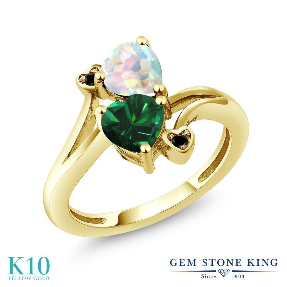 Gem Stone King 1.46カラット ナノエメラルド シミュレイテッド ホワイトオパール 天然ブラックダイヤモンド 10金 イエローゴールド(K10) 指輪 リング レディース ダブルストーン 金属アレルギー対応 誕生日プレゼント