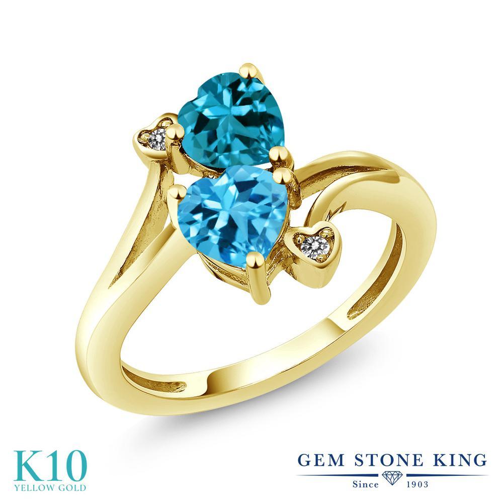 Gem Stone King 1.93カラット 天然 スイスブルートパーズ 天然 ロンドンブルートパーズ 天然 ダイヤモンド 10金 イエローゴールド(K10) 指輪 リング レディース ダブルストーン 天然石 11月 誕生石 金属アレルギー対応 誕生日プレゼント