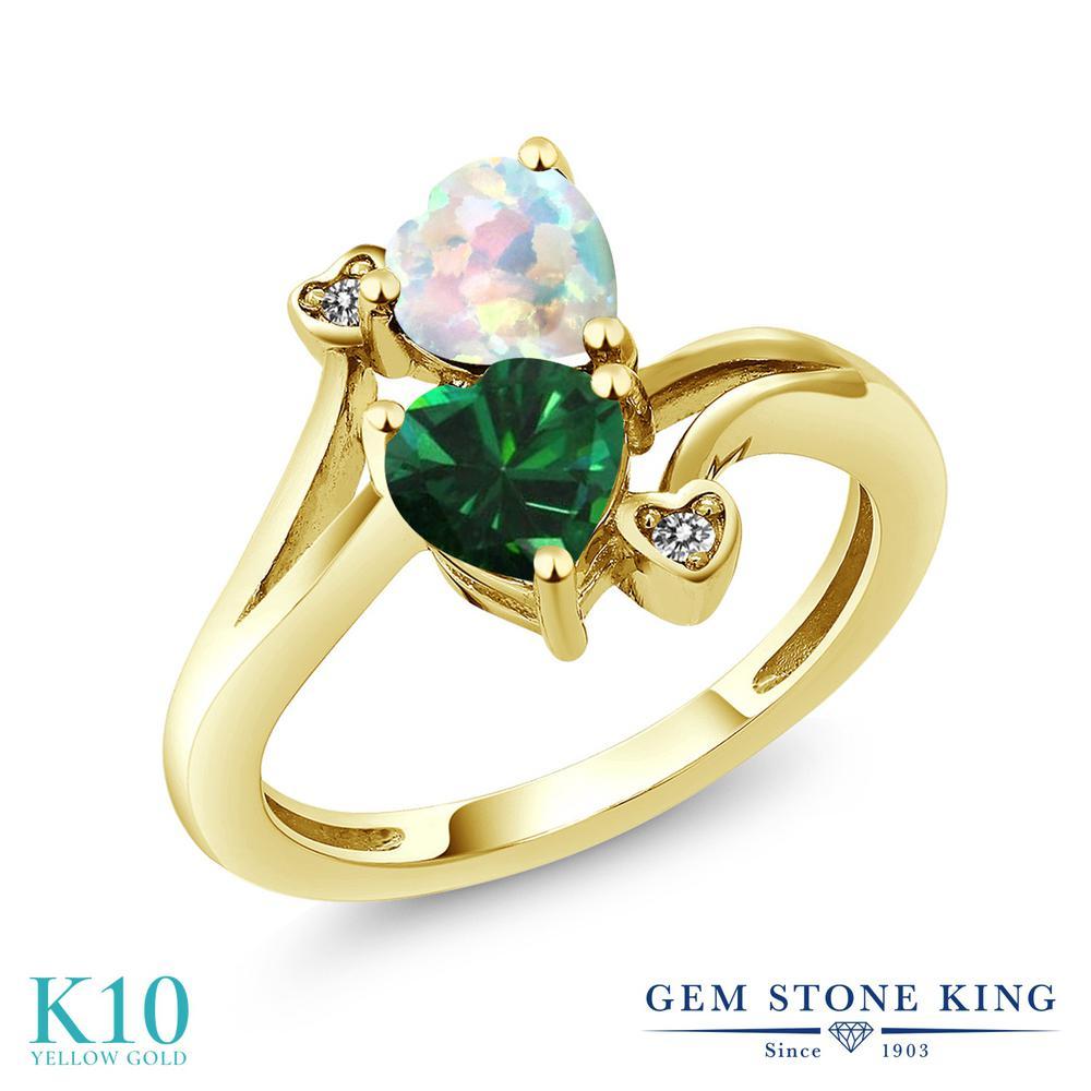 【10%OFF】 Gem Stone King 1.46カラット ナノエメラルド シミュレイテッド ホワイトオパール 天然 ダイヤモンド 指輪 リング レディース 10金 イエローゴールド K10 ダブルストーン クリスマスプレゼント 女性 彼女 妻 誕生日