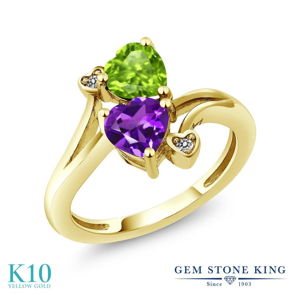 Gem Stone King 1.51カラット 天然 アメジスト 天然石 ペリドット 天然 ダイヤモンド 10金 イエローゴールド(K10) 指輪 リング レディース ダブルストーン 天然石 2月 誕生石 金属アレルギー対応 誕生日プレゼント