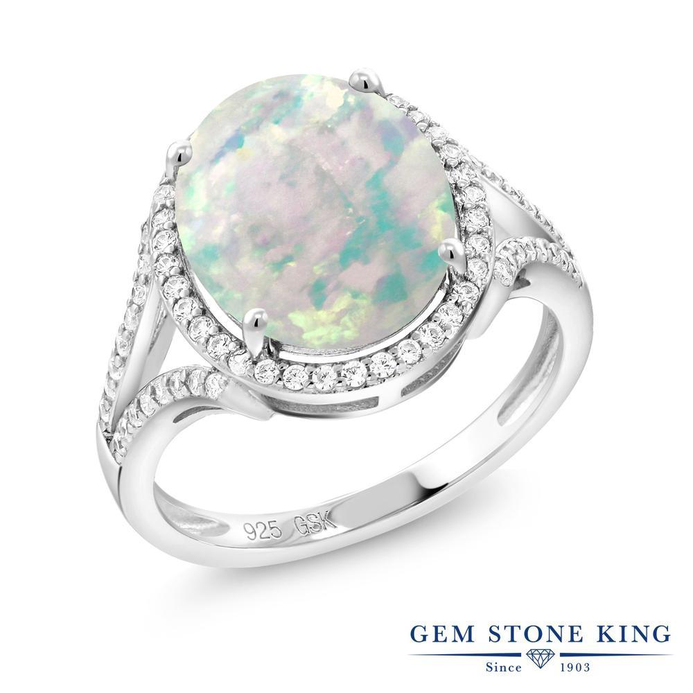 Gem Stone King 4.82カラット シミュレイテッド ホワイトオパール シルバー925 指輪 リング レディース 大粒 大ぶり カクテル 10月 誕生石 金属アレルギー対応 誕生日プレゼント