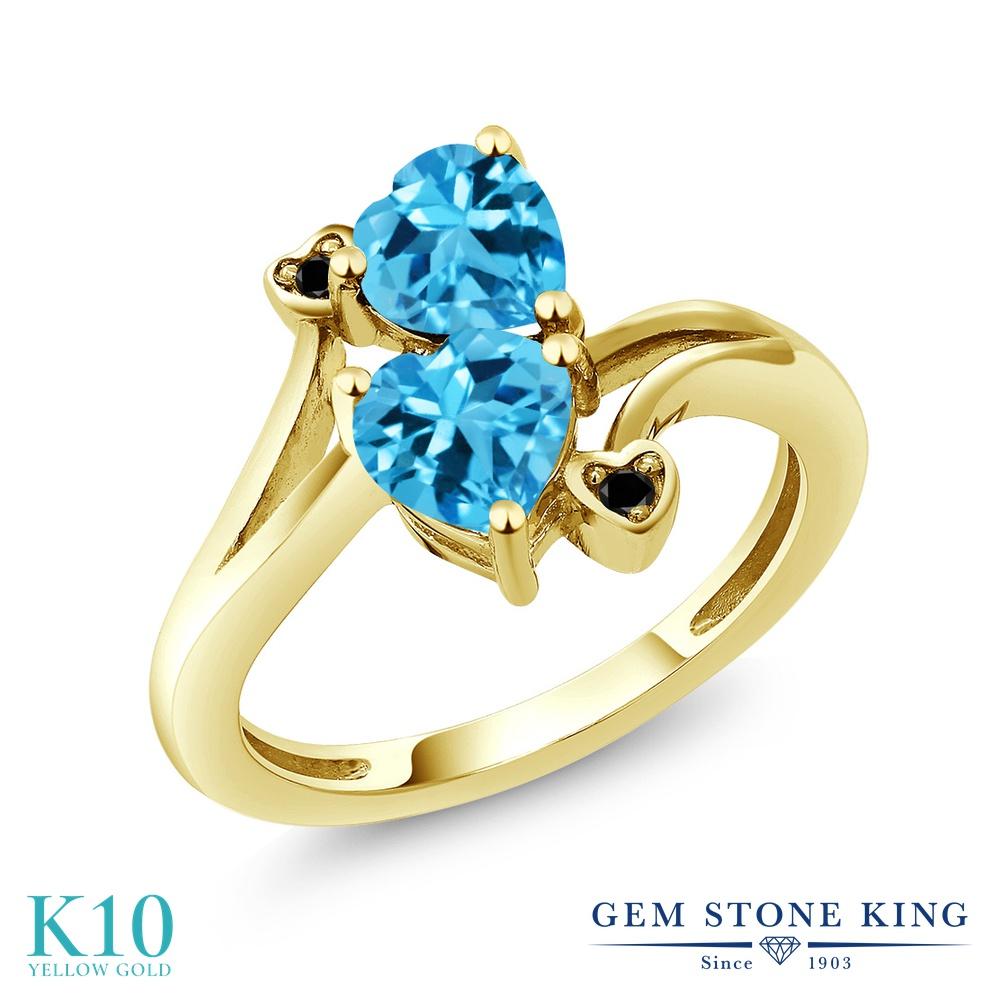 Gem Stone King 1.93カラット 天然 スイスブルートパーズ 天然ブラックダイヤモンド 10金 イエローゴールド(K10) 指輪 リング レディース ダブルストーン 天然石 11月 誕生石 金属アレルギー対応 誕生日プレゼント