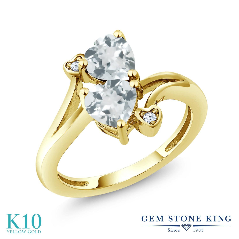 Gem Stone King 1.37カラット 天然 アクアマリン 10金 イエローゴールド(K10) 指輪 リング レディース ダブルストーン 天然石 3月 誕生石 金属アレルギー対応 誕生日プレゼント