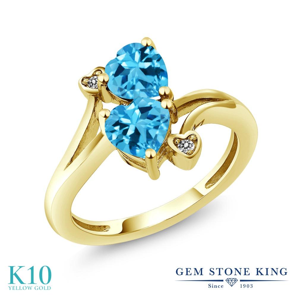 Gem Stone King 1.93カラット 天然 スイスブルートパーズ 天然 ダイヤモンド 10金 イエローゴールド(K10) 指輪 リング レディース ダブルストーン 天然石 11月 誕生石 金属アレルギー対応 誕生日プレゼント