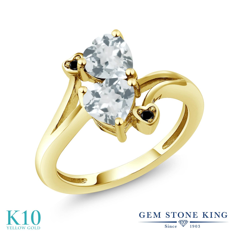 Gem Stone King 1.37カラット 天然 アクアマリン 天然ブラックダイヤモンド 10金 イエローゴールド(K10) 指輪 リング レディース ダブルストーン 天然石 3月 誕生石 金属アレルギー対応 誕生日プレゼント