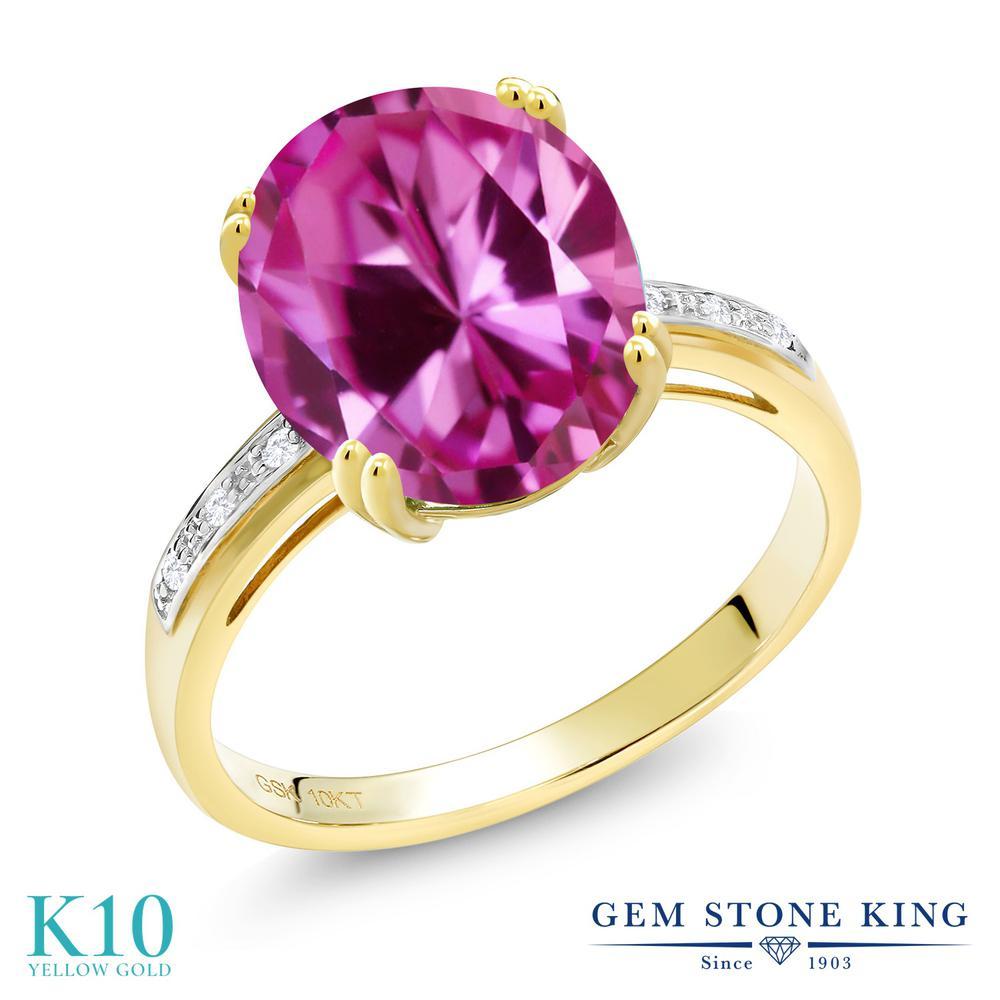 Gem Stone King 6.04カラット 合成ピンクサファイア 天然 ダイヤモンド 10金 イエローゴールド(K10) 指輪 リング レディース 大粒 ソリティア 金属アレルギー対応 誕生日プレゼント