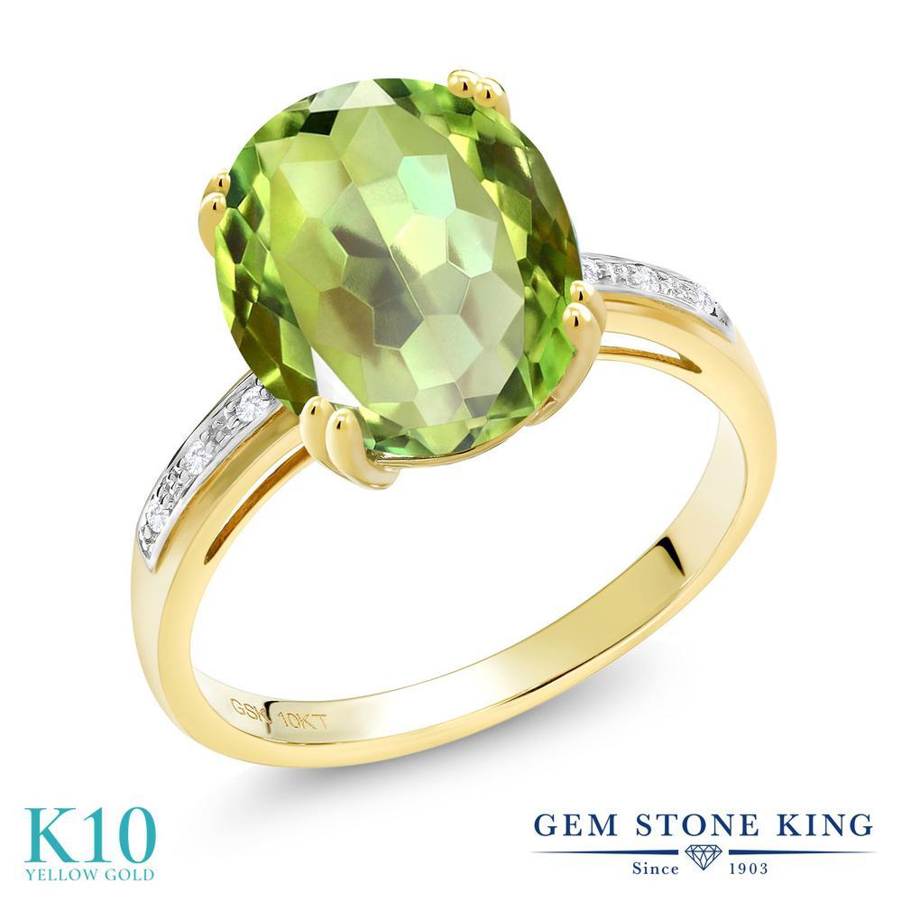 Gem Stone King 0.94カラット 天然石 ミスティッククォーツ (グリーンアップル) 天然 ダイヤモンド 10金 イエローゴールド(K10) 指輪 リング レディース ソリティア 天然石 金属アレルギー対応 誕生日プレゼント