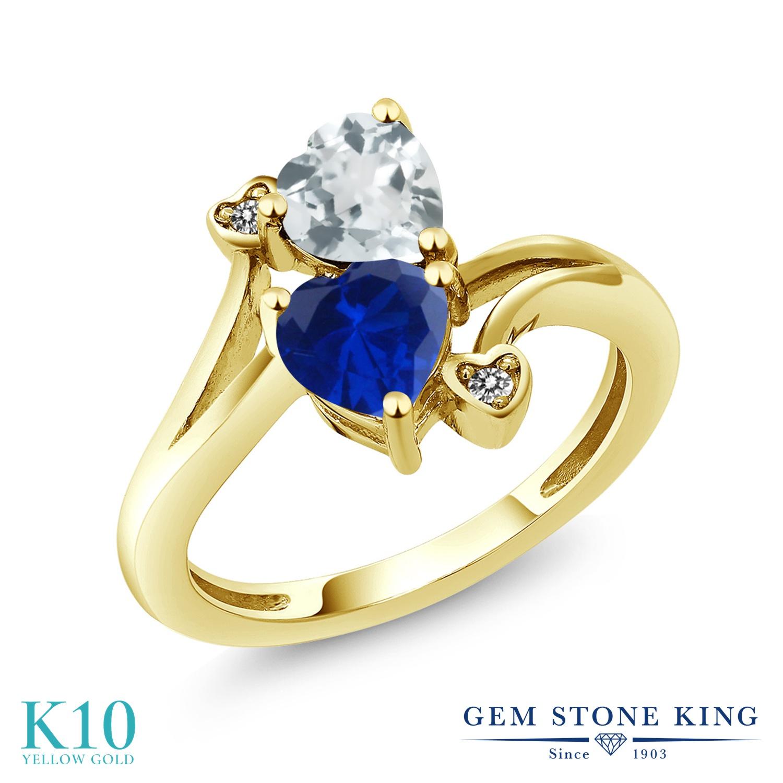 Gem Stone King 1.5カラット 天然 アクアマリン シミュレイテッド サファイア 天然 ダイヤモンド 10金 イエローゴールド(K10) 指輪 リング レディース ダブルストーン 天然石 3月 誕生石 金属アレルギー対応 誕生日プレゼント