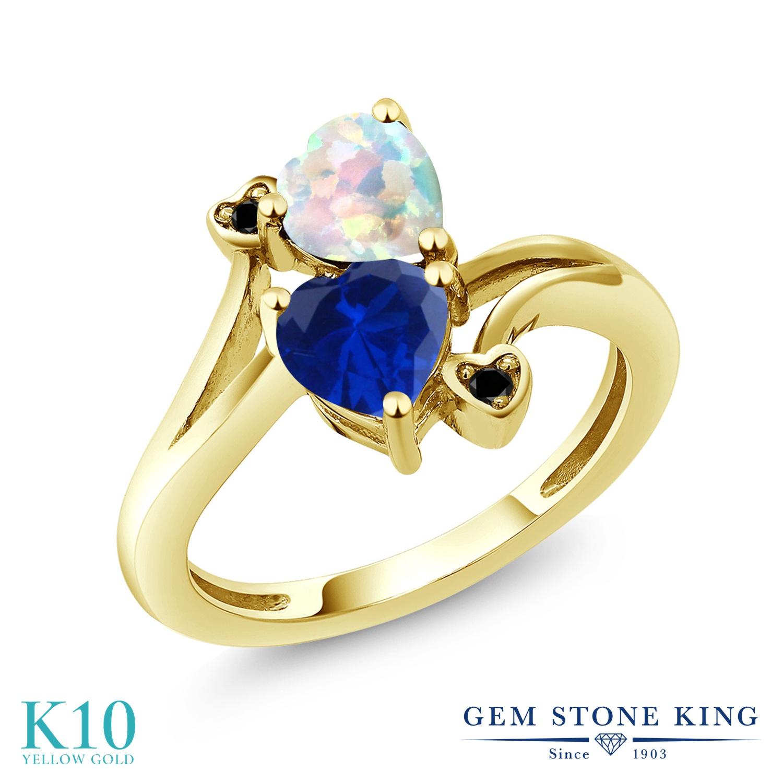Gem Stone King 1.58カラット シミュレイテッド ホワイトオパール シミュレイテッド サファイア 天然ブラックダイヤモンド 10金 イエローゴールド(K10) 指輪 リング レディース ダブルストーン 10月 誕生石 金属アレルギー対応 誕生日プレゼント