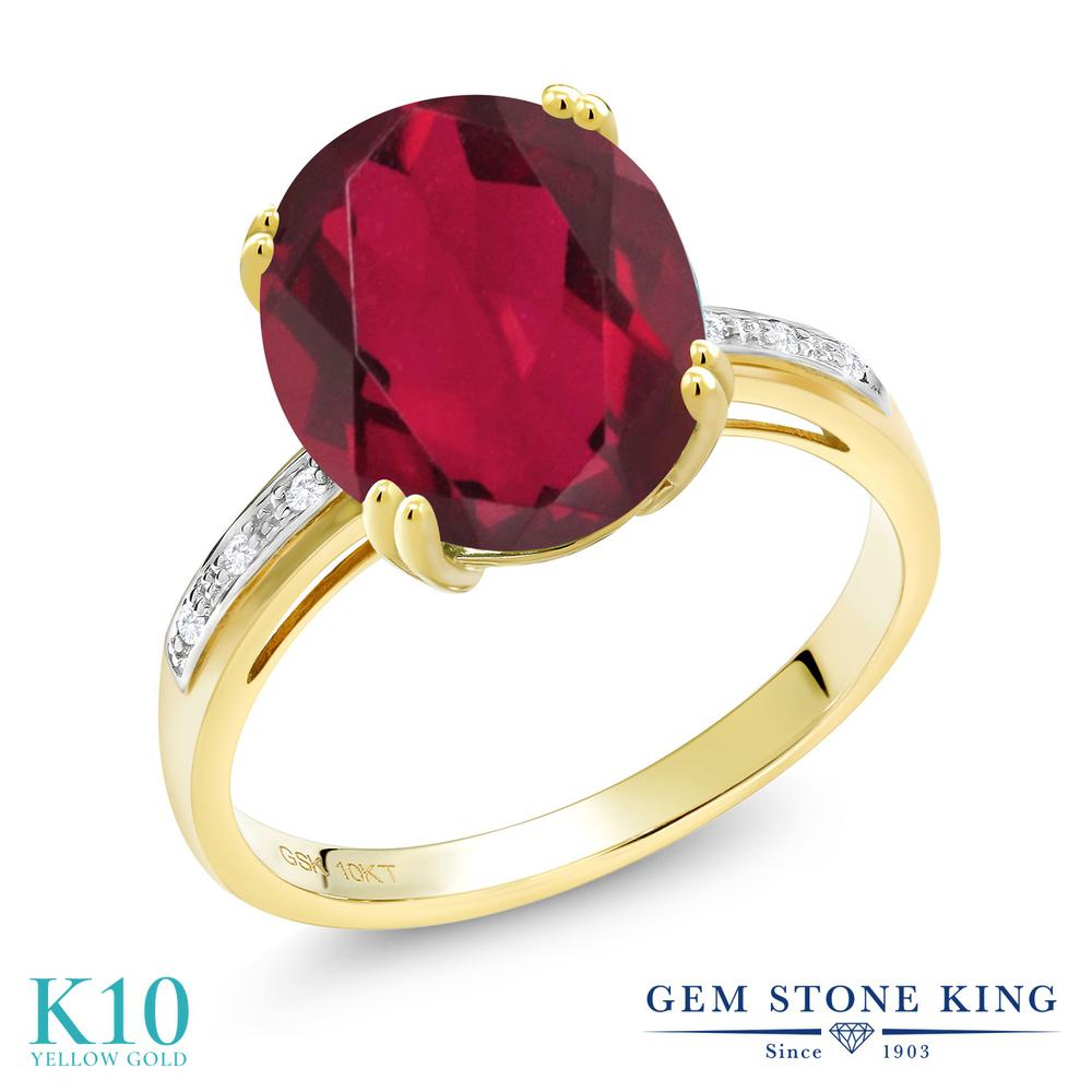 Gem Stone King 4.04カラット 天然 ミスティッククォーツ (ルビーレッド) 天然 ダイヤモンド 10金 イエローゴールド(K10) 指輪 リング レディース 大粒 ソリティア 天然石 金属アレルギー対応 誕生日プレゼント
