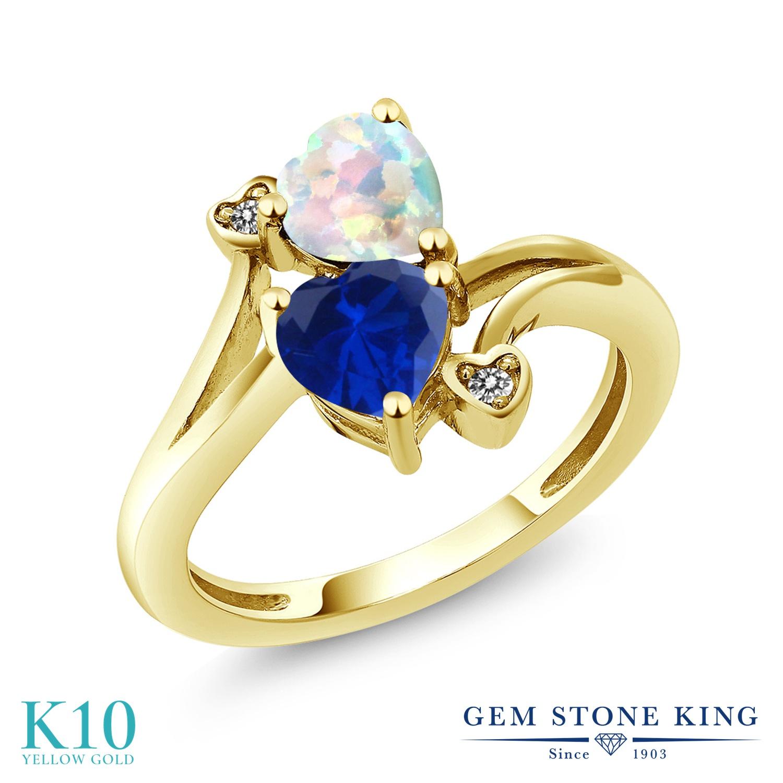 Gem Stone King 1.58カラット シミュレイテッド ホワイトオパール シミュレイテッド サファイア 天然 ダイヤモンド 10金 イエローゴールド(K10) 指輪 リング レディース ダブルストーン 10月 誕生石 金属アレルギー対応 誕生日プレゼント