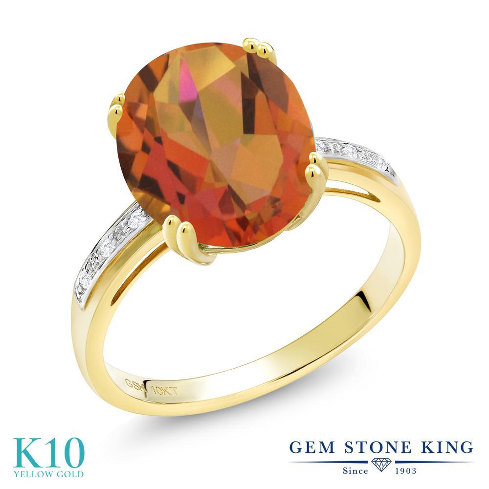 Gem Stone King 4.04カラット 天然 ミスティッククォーツ (トワイライトオレンジ) 天然 ダイヤモンド 10金 イエローゴールド(K10) 指輪 リング レディース 大粒 ソリティア 天然石 金属アレルギー対応 誕生日プレゼント
