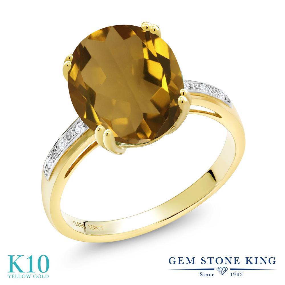 Gem Stone King 4.04カラット 天然石 ウィスキークォーツ 天然 ダイヤモンド 10金 イエローゴールド(K10) 指輪 リング レディース 大粒 ソリティア 天然石 金属アレルギー対応 誕生日プレゼント