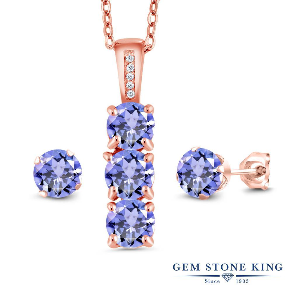 Gem Stone King 2.34カラット 天然石 タンザナイト 天然 ダイヤモンド シルバー925 ピンクゴールドコーティング ペンダント&ピアスセット レディース 小粒 天然石 12月 誕生石 金属アレルギー対応 誕生日プレゼント
