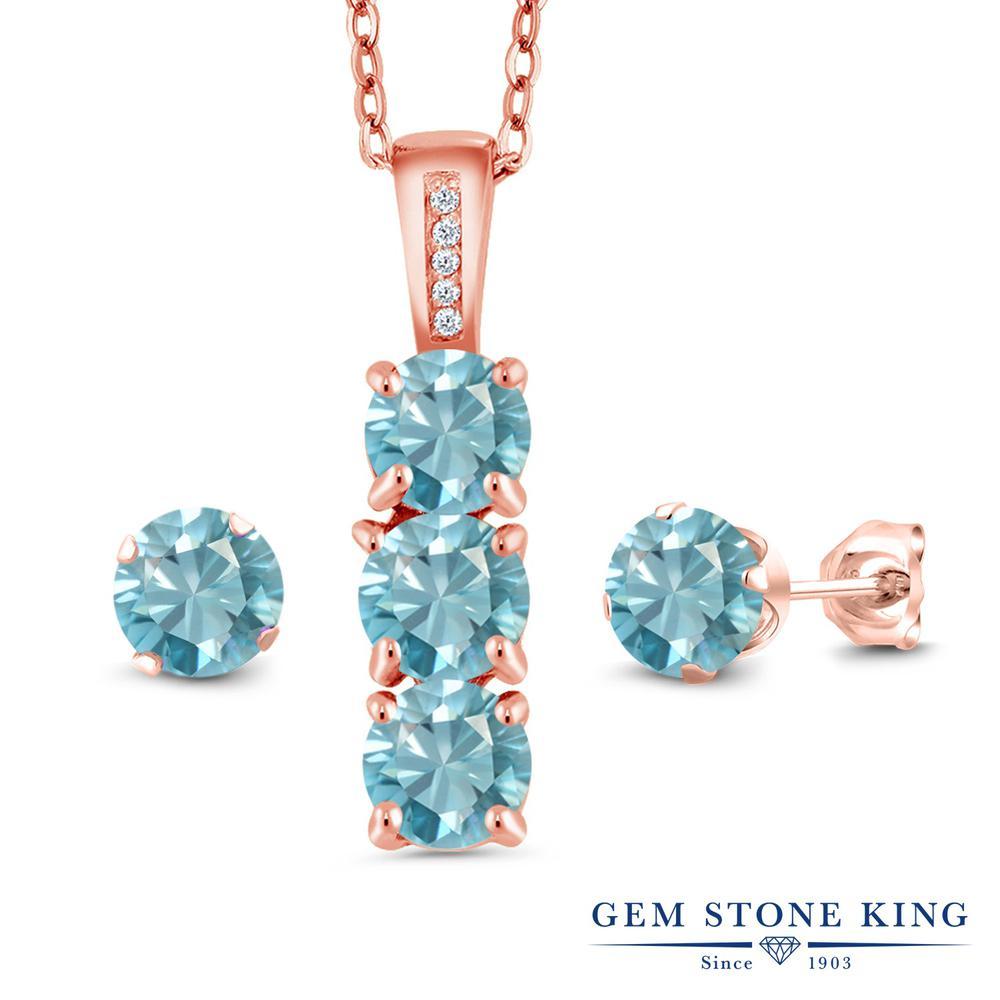 Gem Stone King 4.29カラット 天然石 ブルージルコン 天然 ダイヤモンド シルバー925 ピンクゴールドコーティング ペンダント&ピアスセット レディース 天然石 12月 誕生石 金属アレルギー対応 誕生日プレゼント