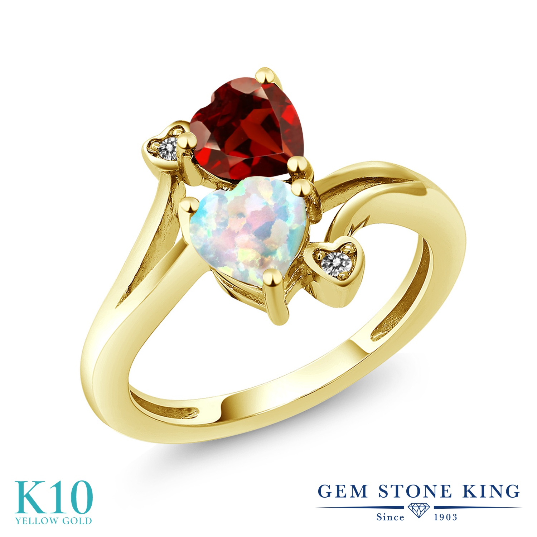 Gem Stone King 1.68カラット シミュレイテッド ホワイトオパール 天然 ガーネット 天然 ダイヤモンド 10金 イエローゴールド(K10) 指輪 リング レディース ダブルストーン 10月 誕生石 金属アレルギー対応 誕生日プレゼント