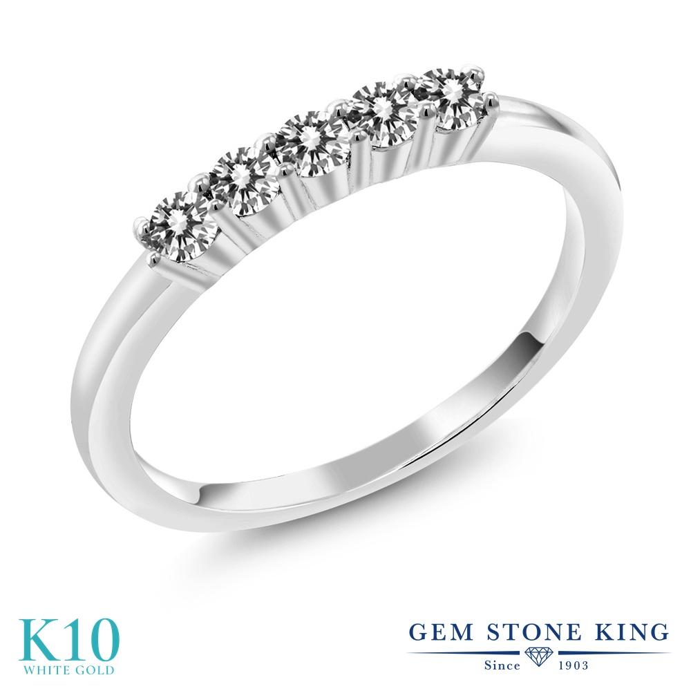 Gem Stone King 0.5カラット 4月 天然 10金 ダイヤモンド 10金 ホワイトゴールド(K10) 天然 指輪 リング レディース ホワイト ダイヤ 小粒 バンド 天然石 4月 誕生石 金属アレルギー対応 結婚指輪 ウェディングバンド, 東村:4c7f2a35 --- ww.thecollagist.com