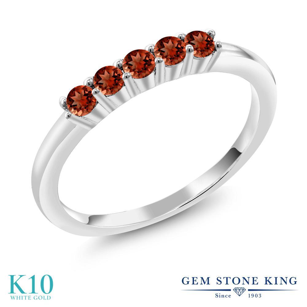 Gem Stone King 0.6カラット 天然 ガーネット 10金 ホワイトゴールド(K10) 指輪 リング レディース 小粒 バンド 天然石 1月 誕生石 金属アレルギー対応 結婚指輪 ウェディングバンド