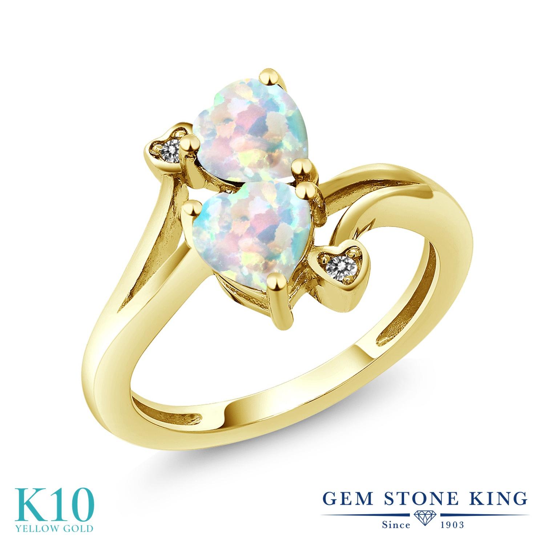【10%OFF】 Gem Stone King 1.53カラット シミュレイテッド ホワイトオパール 天然 ダイヤモンド 指輪 リング レディース 10金 イエローゴールド K10 ダブルストーン 10月 誕生石 クリスマスプレゼント 女性 彼女 妻 誕生日