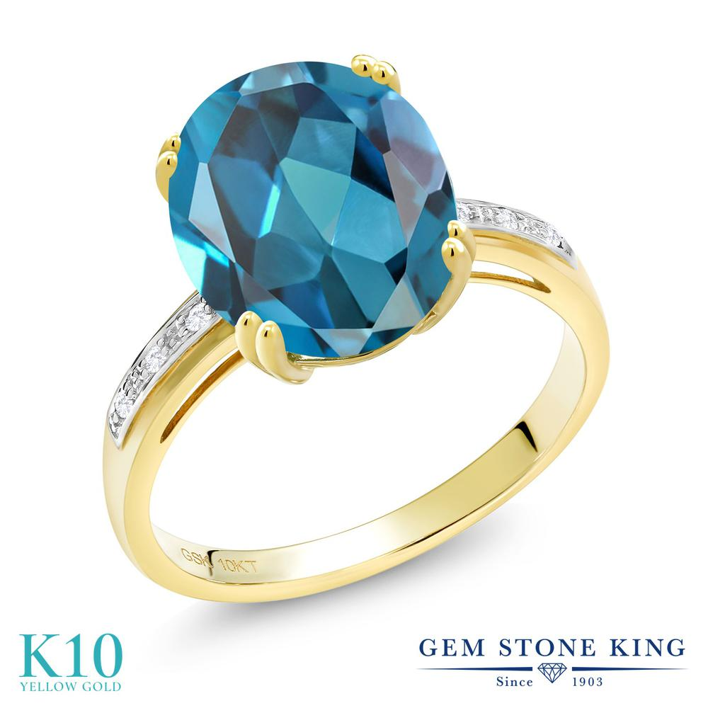 Gem Stone King 5.24カラット 天然 ロンドンブルートパーズ 天然 ダイヤモンド 10金 イエローゴールド(K10) 指輪 リング レディース 大粒 ソリティア 天然石 11月 誕生石 金属アレルギー対応 誕生日プレゼント