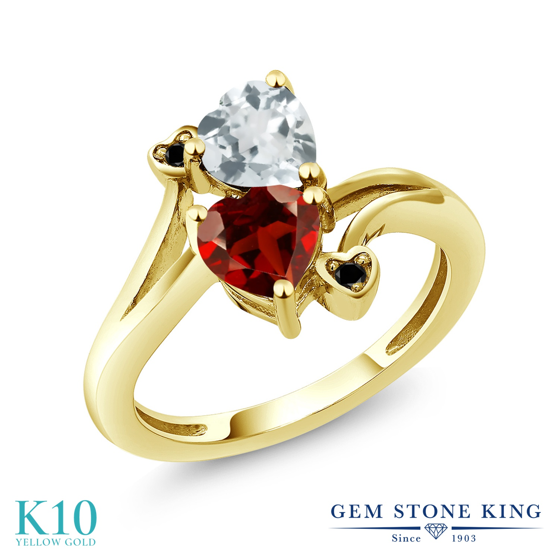 Gem Stone King 1.6カラット 天然 アクアマリン 天然 ガーネット 天然ブラックダイヤモンド 10金 イエローゴールド(K10) 指輪 リング レディース ダブルストーン 天然石 3月 誕生石 金属アレルギー対応 誕生日プレゼント