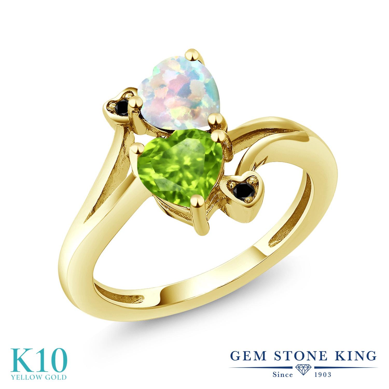 Gem Stone King 1.61カラット シミュレイテッド ホワイトオパール 天然石 ペリドット 天然ブラックダイヤモンド 10金 イエローゴールド(K10) 指輪 リング レディース ダブルストーン 10月 誕生石 金属アレルギー対応 誕生日プレゼント