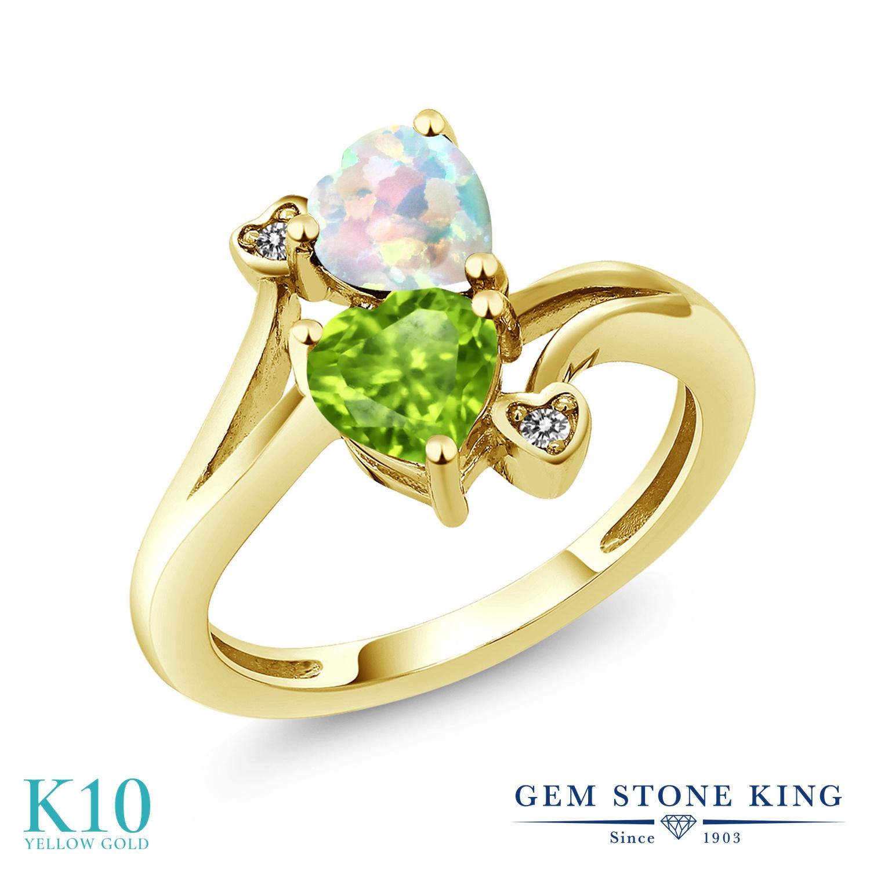 Gem Stone King 1.61カラット シミュレイテッド ホワイトオパール 天然石 ペリドット 天然 ダイヤモンド 10金 イエローゴールド(K10) 指輪 リング レディース ダブルストーン 10月 誕生石 金属アレルギー対応 誕生日プレゼント