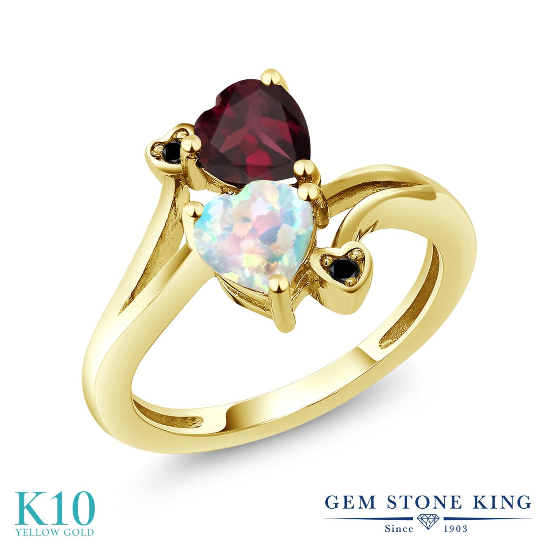 Gem Stone King 1.5カラット シミュレイテッド ホワイトオパール 天然 ロードライトガーネット 天然ブラックダイヤモンド 10金 イエローゴールド(K10) 指輪 リング レディース ダブルストーン 10月 誕生石 金属アレルギー対応 誕生日プレゼント