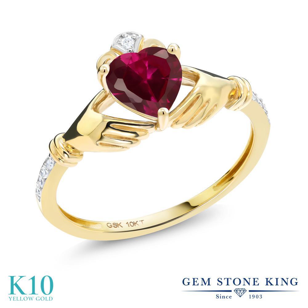 Gem Stone King 1.02カラット 合成ルビー 天然 ダイヤモンド 10金 イエローゴールド(K10) 指輪 リング レディース クラダ 金属アレルギー対応 誕生日プレゼント