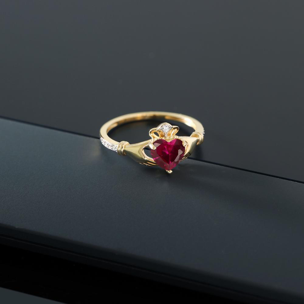 1 02カラット 合成ルビー 指輪 レディース リング 天然 ダイヤモンド 10金 イエローゴールド K10 ブランド おしゃれ クラダ ハート 赤 プレゼント 女性 彼女 妻 誕生日uiTwOPkZX