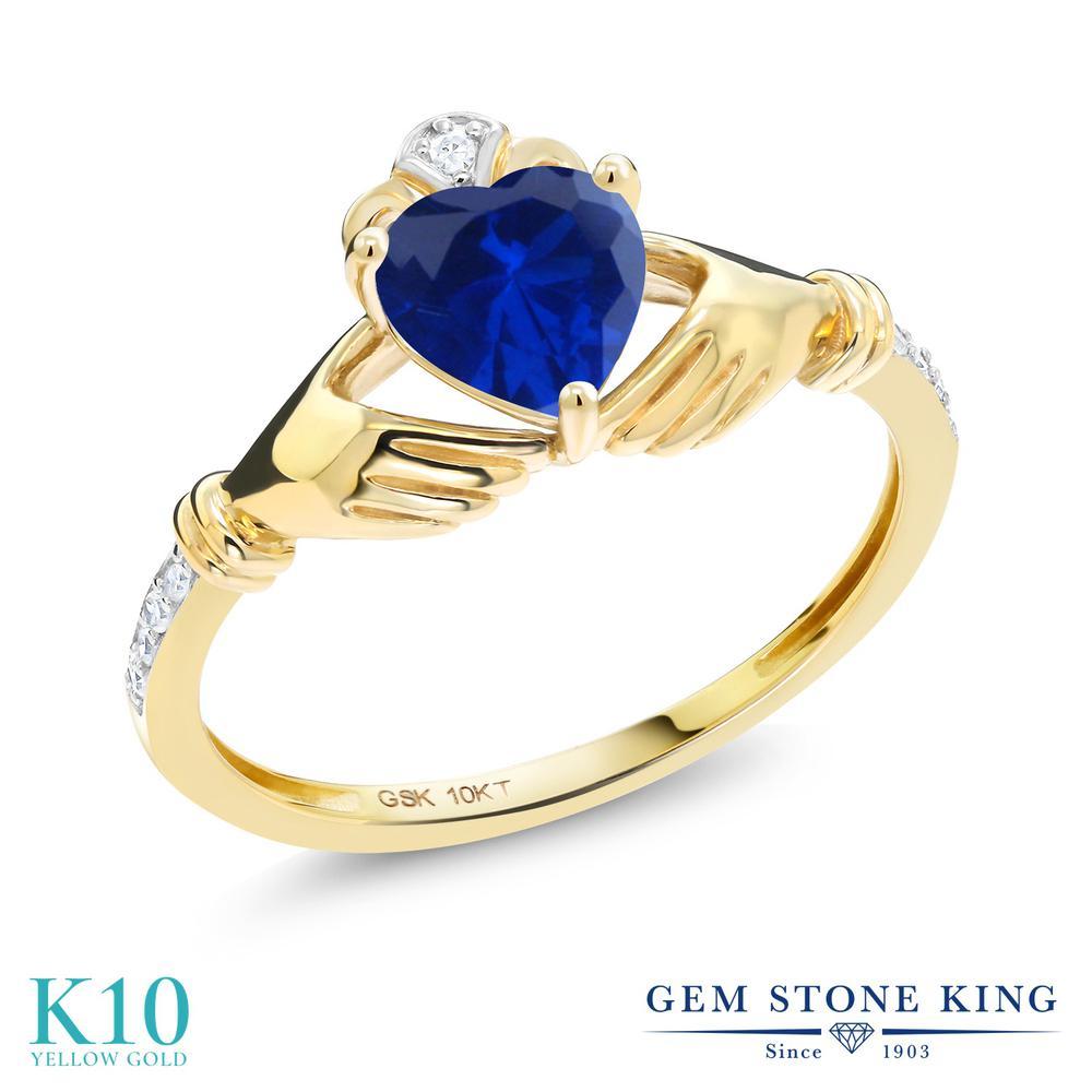 Gem Stone King 0.86カラット シミュレイテッド サファイア 天然 ダイヤモンド 10金 イエローゴールド(K10) 指輪 リング レディース クラダ 金属アレルギー対応 誕生日プレゼント