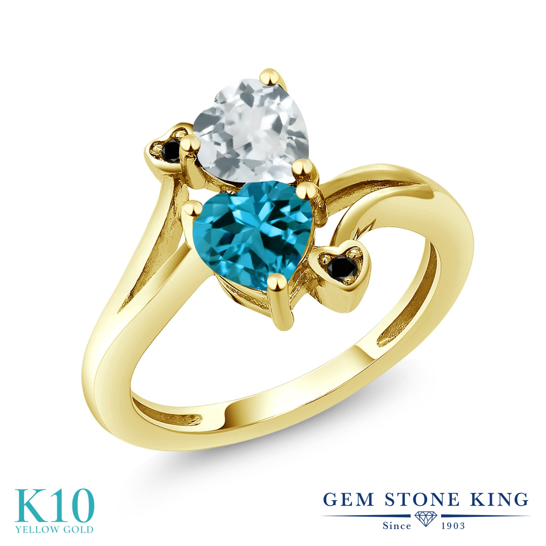 Gem Stone King 1.65カラット 天然 アクアマリン 天然 ロンドンブルートパーズ 天然ブラックダイヤモンド 10金 イエローゴールド(K10) 指輪 リング レディース ダブルストーン 天然石 3月 誕生石 金属アレルギー対応 誕生日プレゼント