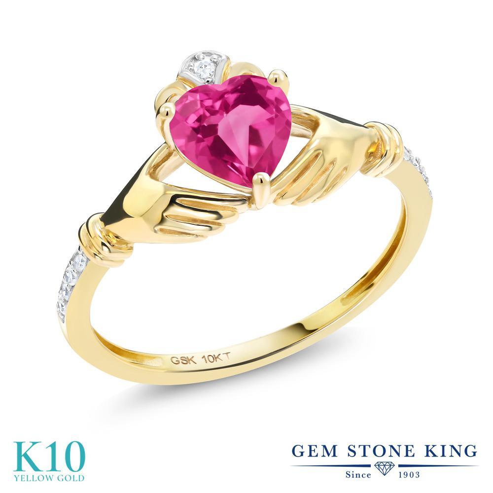 Gem Stone King 0.86カラット 合成ピンクサファイア 天然 ダイヤモンド 10金 イエローゴールド(K10) 指輪 リング レディース クラダ 金属アレルギー対応 誕生日プレゼント